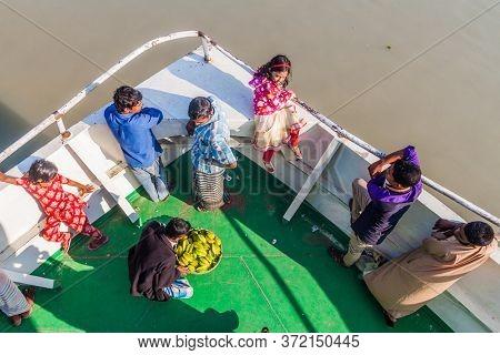 Gabkhan Channel, Bangladesh - November 19, 2016: Passengers Of Mv Modhumoti Ship, Bangladesh