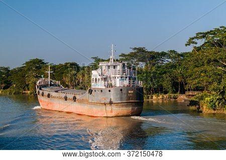 Gabkhan Channel, Bangladesh - November 19, 2016: Mv Chowdhury Cargo Ship On Gabkhan Channel, Banglad