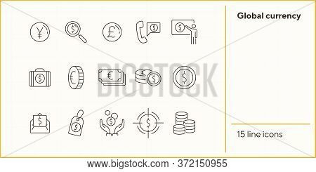 Global Currency Icon Set. Dollar, Cash, Tax. Finances Concept. Can Be Used For Topics Like Convertin