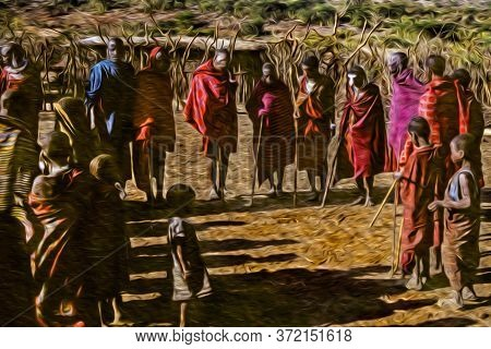 Serengeti, Tanzania - February 7, 1997. People From The Maasai Tribe Wearing Typical Clothes In The