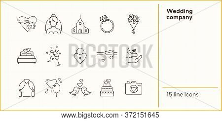 Wedding Company Icons. Wedding Arch, Just Married Car, Bouquet. Wedding Concept. Vector Illustration