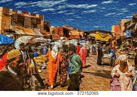 Marrakesh, Morocco - May 16, 1997. Medina With People Shopping Among Stalls, In A Chaos Of Colors An
