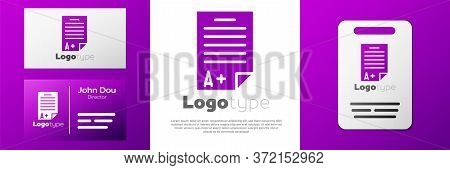 Logotype Exam Sheet With A Plus Grade Icon Isolated On White Background. Test Paper, Exam, Or Survey