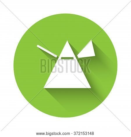 White Light Rays In Prism Icon Isolated With Long Shadow. Ray Rainbow Spectrum Dispersion Optical Ef