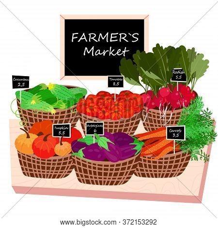Wicker Basket With Fresh Vegetables. Local Veggie Harvest For Farmers Market. Organic Food As Auberg