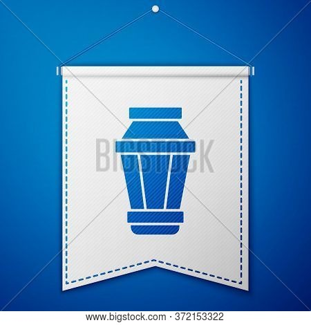 Blue Garden Light Lamp Icon Isolated On Blue Background. Solar Powered Lamp. Lantern. Street Lamp. W