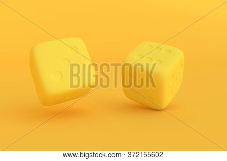 Two Rolling Dice, Poker Dice, Ivories, Bone, Devil's Bones On Bright Background In Purple Pastel Col