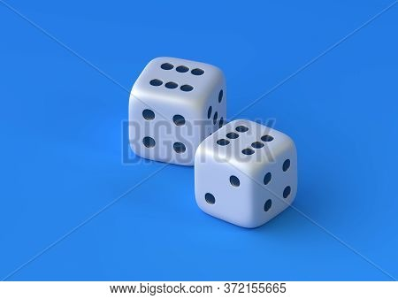 Cubes Dice Two White Dices On Blue Background With Copy Space In Pastel Colors. Gambling Game. Busin
