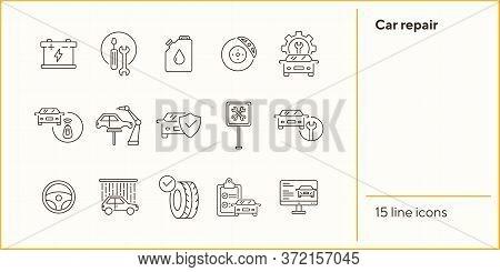 Car Repair Icons. Set Of Line Icons. Oil, Auto Service Sign, Tyre. Car Repair Concept. Vector Illust