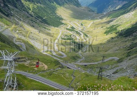 Fantastic Mountain Valley. Crossing Carpathian Mountains Of Romania, Transfagarasan Is One Of The Mo
