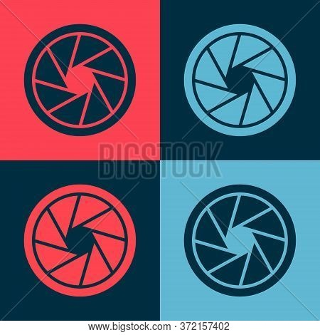 Pop Art Camera Shutter Icon Isolated On Color Background. Vector Illustration.