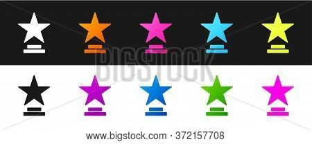 Set Movie Trophy Icon Isolated On Black And White Background. Academy Award Icon. Films And Cinema S