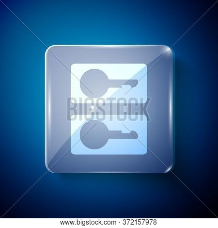 White Metal Mold Plates For Casting Keys Icon Isolated On Blue Background. Set For Mass Production A