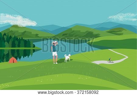 Mountain Green Valley Lake Landscape. Summer Season Scenic View Poster. River Side In Mountains Cart