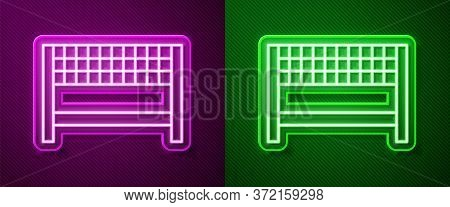 Glowing Neon Line Ribbon In Finishing Line Icon Isolated On Purple And Green Background. Symbol Of F