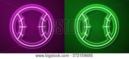 Glowing Neon Line Baseball Ball Icon Isolated On Purple And Green Background. Vector Illustration.