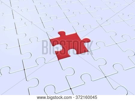 Unfinished White Jigsaw Puzzle On Blue Background With Copy Space. Connected Blank Puzzle Pieces. Bu