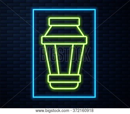 Glowing Neon Line Garden Light Lamp Icon Isolated On Brick Wall Background. Solar Powered Lamp. Lant
