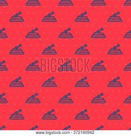 Blue Line Garden Hose Or Fire Hose Icon Isolated Seamless Pattern On Red Background. Spray Gun Icon.