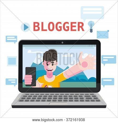 Blogger Making Video For Blog Or Vlog. Popular Young Video Streamer Blogger Man, Live Broadcast, Pod