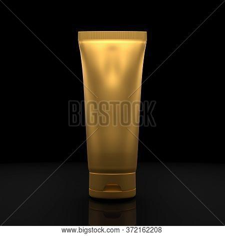 Gold Cream Tube. Packaging Tube. Plastic Tube For Medicine Or Cosmetics Cream, Gel, Skin Care, Tooth