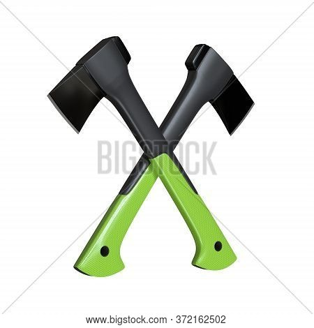 Two Crossed Axe On The White Background. Axe With Fibreglass Handle. Lumberjack Ax. Axe Tool. 3d Ren