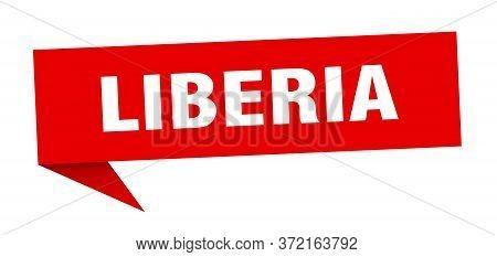 Liberia Sticker. Red Liberia Signpost Pointer Sign