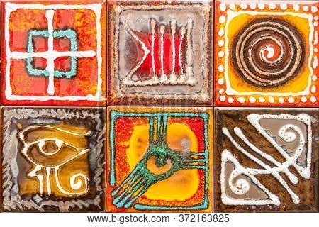 Colorful Background With Various Designs. Italian Colored Tiles Handmade In Vietri, Amafli Coast, It