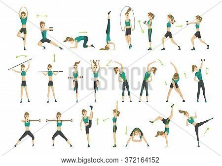 Woman Fitness. Collection Of Workout Aerobic Fitness. Active And Healthy Life Concept. Woman Doing F
