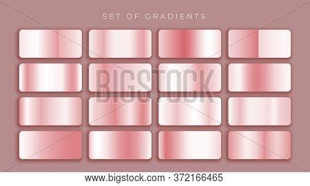 Rose Gold Or Pink Metallic Gradients Set Design Vector Illustration