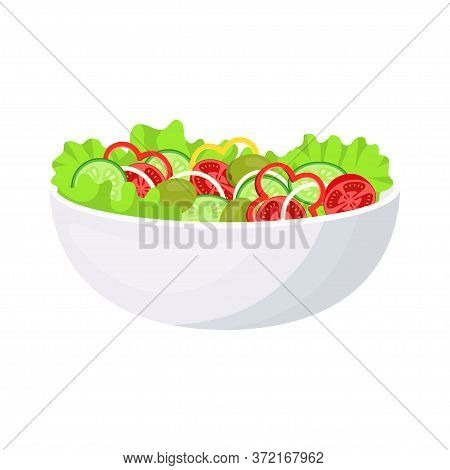 Vegetable Salad In Bowl Isolated On White Background, Fresh Green Salad Leaves, Tomato, Onion, Olive