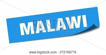 Malawi Sticker. Malawi Blue Square Peeler Sign