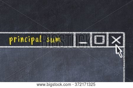 Closing Browser Window With Caption Principal Sum. Chalk Drawing. Concept Of Dealing With Trouble