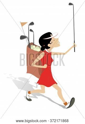 Golfer Woman Goes To Play Golf Illustration. Smiling Woman With Golf Club In The Hand And Golf Bag G