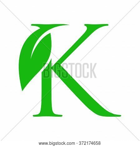 Simple Clean And Charming Logo Design Initial K Combining With Leaf.
