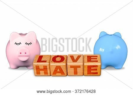 Love And Hate On The Same Blocks, Concept Of Love Hate Relationship With Opposite Male And Female Pi
