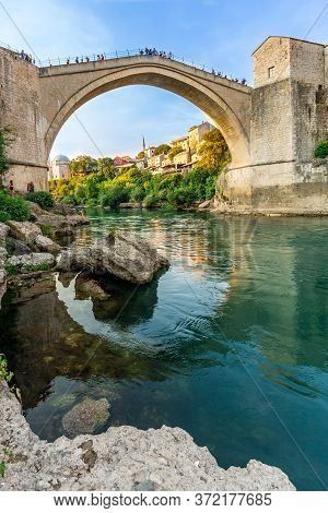 Mostar, Bosnia And Herzegovina. View Of The City And The Old Bridge.