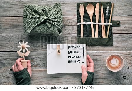 Flat Lay, Zero Waste Lunch Concept - Set Of Reusable Wooden Cutlery, Lunch Box In Textile, Coffee In