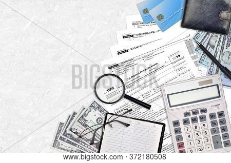 Irs Form 1065 U.s. Return Of Partnership Income Lies On Flat Lay Office Table And Ready To Fill. U.s