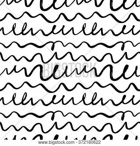 Wavy Grunge Lines Vector Seamless Pattern. Horizontal Brush Strokes, Swirls, Curly Lines. Black Pain