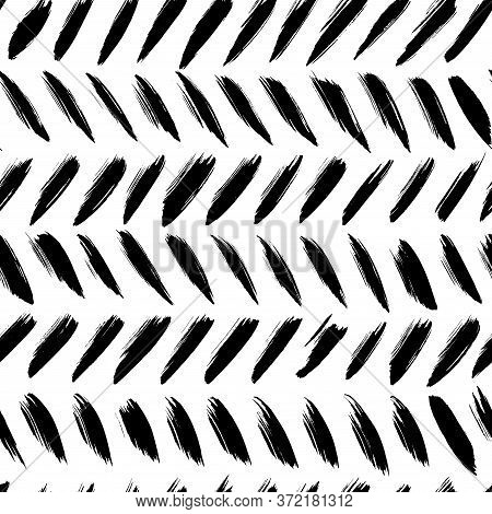Herringbone Brush Strokes Vector Seamless Pattern. Chevron Texture Or Wallpaper. Grunge Doodle Geome