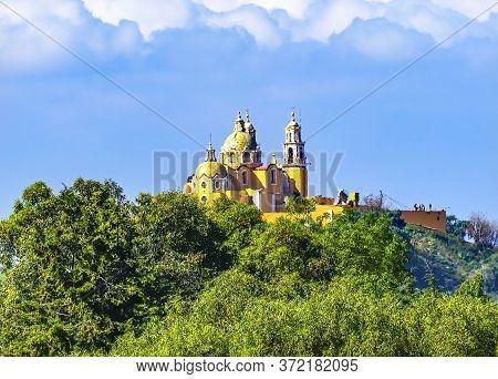 Colorful Yellow Iglesia De Nuestra Senora De Los Remedios Our Lady Of Remedies Church Cholula Puebla