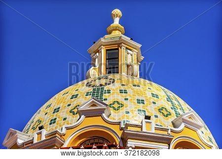 Colorful Yellow Dome Iglesia De Nuestra Senora De Los Remedios Our Lady Of Remedies Church Cholula P