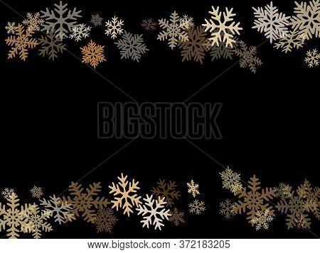 Winter Snowflakes Border Card Vector Background.  Macro Snowflakes Flying Border Illustration, Holid