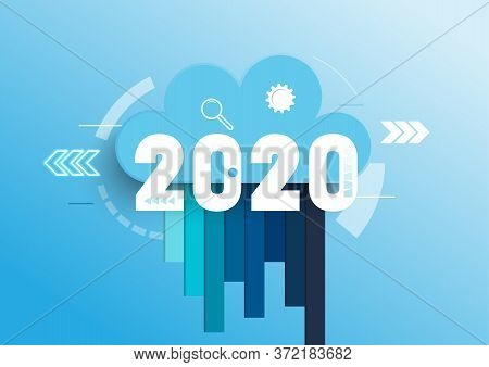 Infographic Concept 2020 Year. Hot Trends, Prospects In Cloud Computing Services And Technologies, B