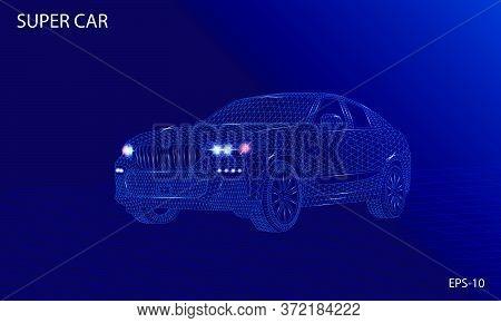 Super Car 3d Wireframe Rendering Futuristic Design Concept Vector Illustration