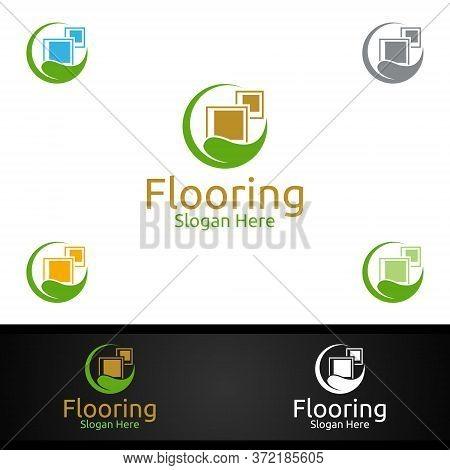Flooring Logo For Parquet Wooden Or Vinyl Hardwood Granite Tile Vector Design