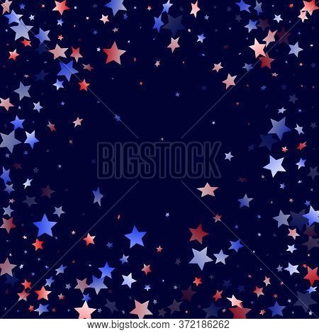 American Patriot Day Stars Background. Confetti In Usa Flag Colors For Independence Day. Festive Red