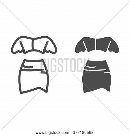 Top And Skirt Line And Solid Icon, Summer Clothes Concept, Women Elegant Clothes Sign On White Backg