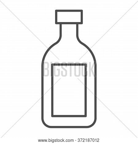 Cognac Thin Line Icon, Alcohol Drinks Concept, Cognac Brandy Bottle Sign On White Background, Alcoho